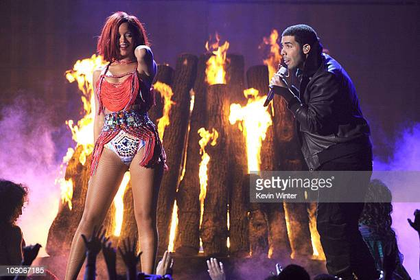 Singers Rihanna and Drake perform onstage during The 53rd Annual GRAMMY Awards held at Staples Center on February 13 2011 in Los Angeles California