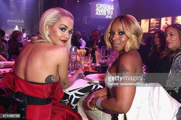 Singers Rita Ora and Mary J Blige attend amfAR's 22nd Cinema Against AIDS Gala Presented By Bold Films And Harry Winston at Hotel du CapEdenRoc on...