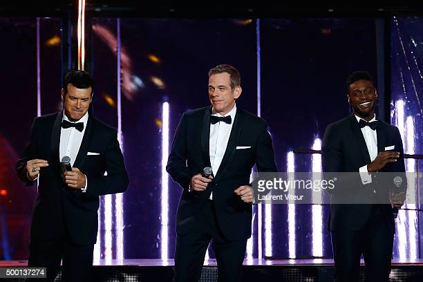 Singers Roch Voisine Garou and Corneille attend the 'France Television Telethon 2015'Marc Lavoine at Hippodrome de Longchamp on December 5 2015 in...