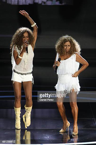 Singers Rosario Flores and Lolita Flores perform at TNTLA Platino Awards 2015 at Starlight Marbella on July 18 2015 in Marbella Spain