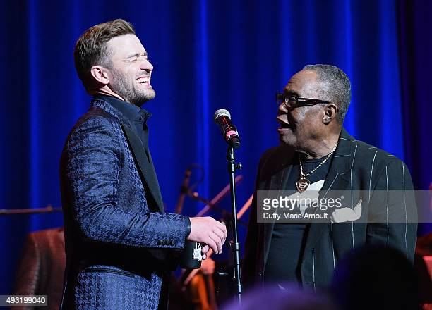 Singers Sam Moore and Justin Timberlake perform at the Memphis Music Hall of Fame Induction Ceremony at the Cannon Center on October 17 2015 in...