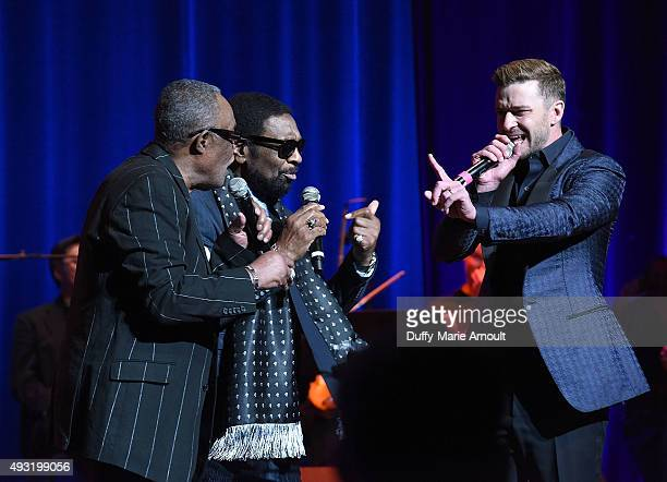 Singers Sam Moore William Bell and Justin Timberlake perform at the Memphis Music Hall of Fame Induction Ceremony at the Cannon Center on October 17...