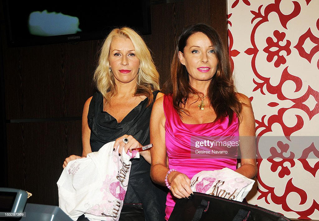 Singers Sara Dallin and Keren Woodward from the band Bananarama attend the 2012 PINKTOBER launch event at Hard Rock Cafe Times Square on October 2...