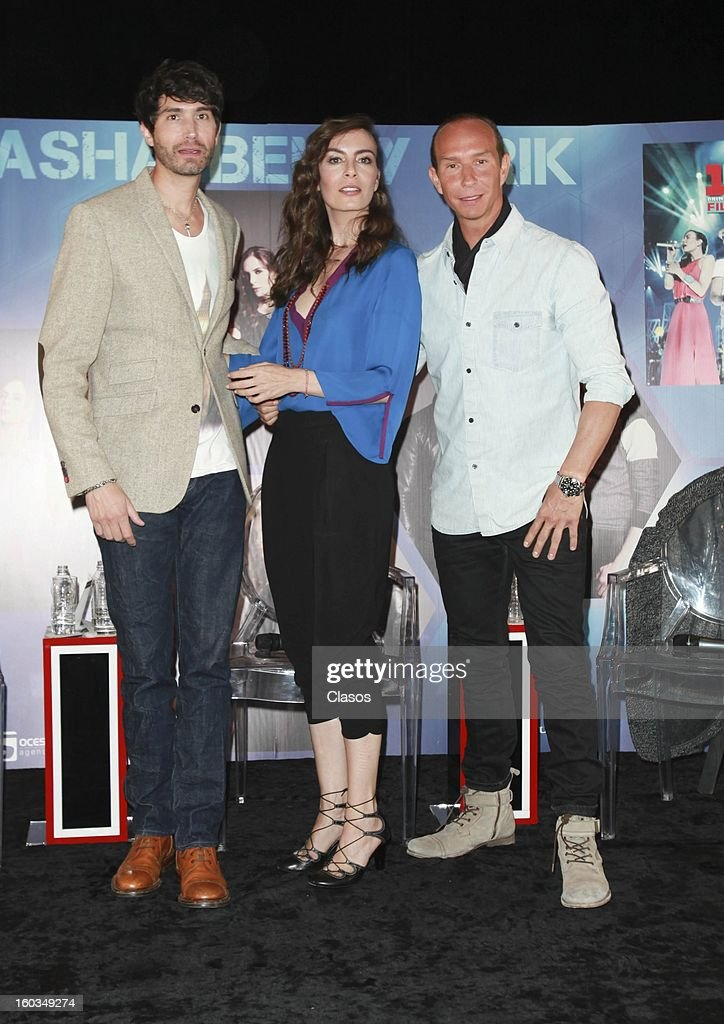 Singers Sasha, Benny and Erik pose for a photo during the press conference in which they were awarded with a platinum disc at Presidente Intercontinental Hotel on January 29, 2013 in Mexico City, Mexico.