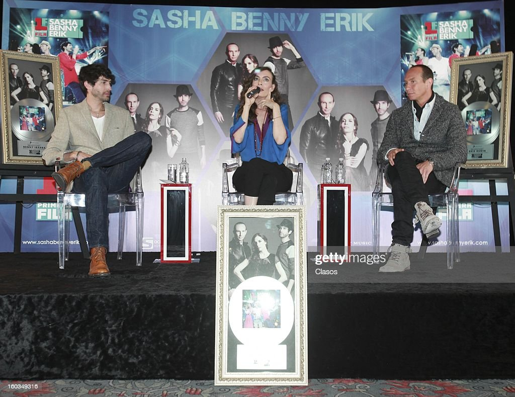 Singers Sasha, Benny and Erik talk during the press conference in which they were awarded with a platinum disc at Presidente Intercontinental Hotel on January 29, 2013 in Mexico City, Mexico.