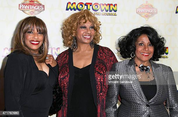 Singers Scherrie Payne Lynda Laurence and Joyce Vincent Wilson attend the Los Angeles opening night of 'Mowtown The Musical' at the Pantages Theatre...