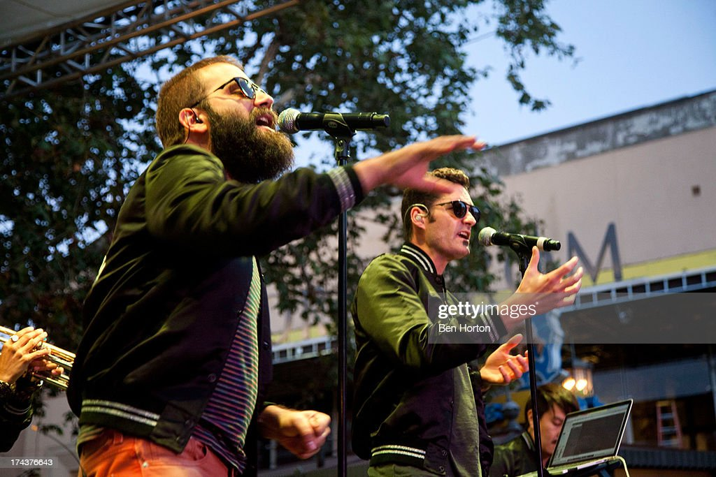 Singers Sebu Simonian and Ryan Merchant of Capital Cities perform at the 2013 Grove summer concert series at The Grove on July 24, 2013 in Los Angeles, California.