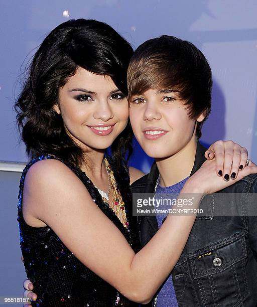 Singers Selena Gomez and Justin Bieber attend Dick Clark's New Year's Rockin' Eve With Ryan Seacrest 2010 at Aria Resort Casino at the City Center on...