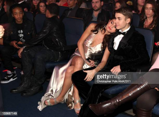 Singers Selena Gomez and Justin Bieber in the audience at the 2011 American Music Awards held at Nokia Theatre LA LIVE on November 20 2011 in Los...