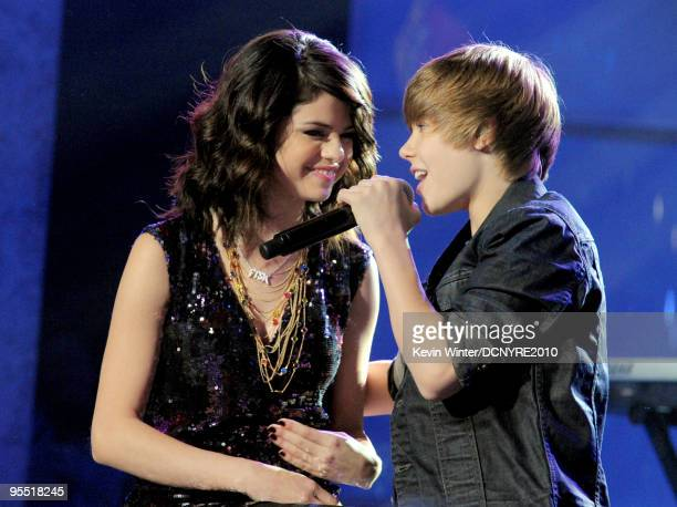 Singers Selena Gomez and Justin Bieber perform during Dick Clark's New Year's Rockin' Eve With Ryan Seacrest 2010 at Aria Resort Casino at the City...