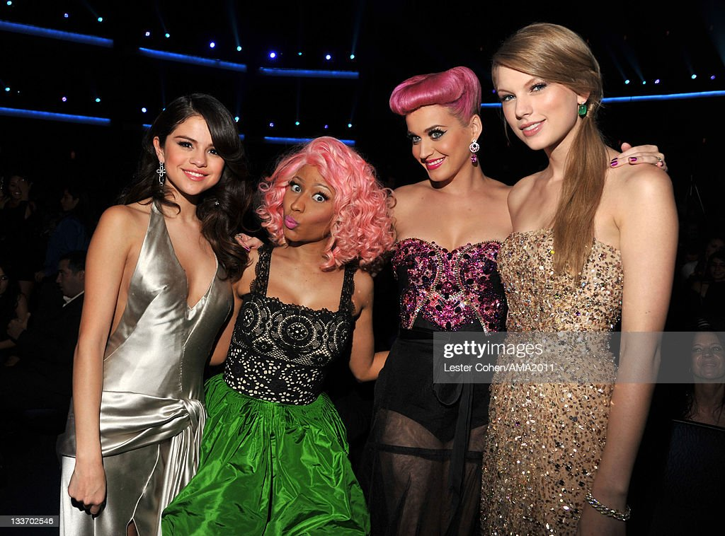 Singers <a gi-track='captionPersonalityLinkClicked' href=/galleries/search?phrase=Selena+Gomez&family=editorial&specificpeople=4295969 ng-click='$event.stopPropagation()'>Selena Gomez</a>, <a gi-track='captionPersonalityLinkClicked' href=/galleries/search?phrase=Nicki+Minaj+-+Performer&family=editorial&specificpeople=6362705 ng-click='$event.stopPropagation()'>Nicki Minaj</a>, <a gi-track='captionPersonalityLinkClicked' href=/galleries/search?phrase=Katy+Perry&family=editorial&specificpeople=599558 ng-click='$event.stopPropagation()'>Katy Perry</a> and <a gi-track='captionPersonalityLinkClicked' href=/galleries/search?phrase=Taylor+Swift&family=editorial&specificpeople=619504 ng-click='$event.stopPropagation()'>Taylor Swift</a> at the 2011 American Music Awards held at Nokia Theatre L.A. LIVE on November 20, 2011 in Los Angeles, California.