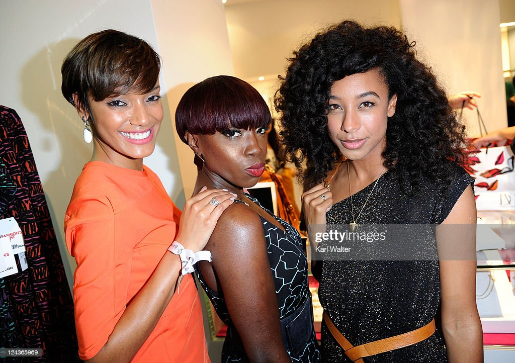 Singers Selita Ebanks Estelle and Corinne Bailey Rae attends the DVF Celebration of Fashion's Night Out 2011 at DVF New York on September 8 2011 in...