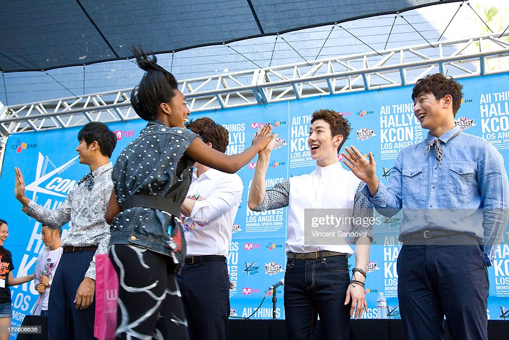 Singers Seulong Changmin Jo Kwon and Jeong JinWoon of 2am attend the KCON 2013 convention day 1 at the Los Angeles Memorial Sports Arena on August 24...