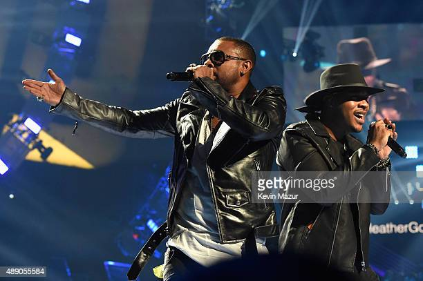 Singers Shaggy and Gene Noble perform onstage at the 2015 iHeartRadio Music Festival at MGM Grand Garden Arena on September 18 2015 in Las Vegas...