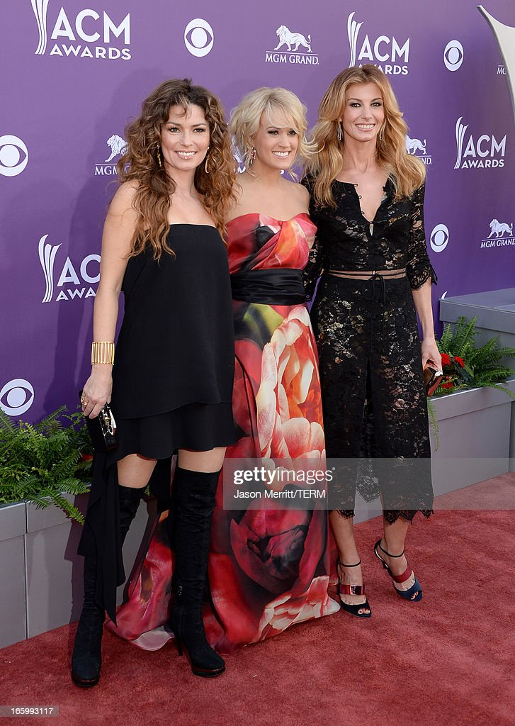 Singers Shania Twain, Carrie Underwood, and Faith Hill arrive at the 48th Annual Academy of Country Music Awards at the MGM Grand Garden Arena on April 7, 2013 in Las Vegas, Nevada.