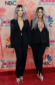 Singers Shannon Bex and Aubrey O'Day of Dumb Blonde arrive on the red carpet for the iHeartRadio Music Awards held at the Shrine Auditorium in Los...