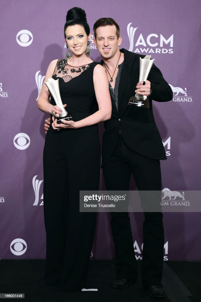 Singers Shawna Thompson and Keifer Thompson of Thompson Square pose in the press room during the 48th Annual Academy of Country Music Awards at the...