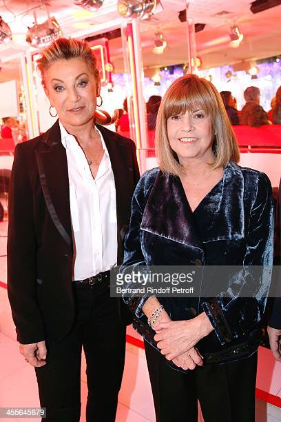 Singers Sheila and Chantal Goya attend the 'Vivement Dimanche' French TV Show at Pavillon Gabriel on December 12 2013 in Paris France