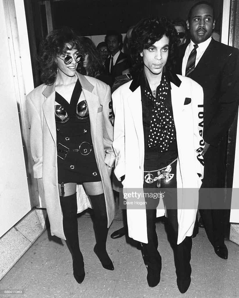 Singers Sheila E and Prince arriving for a tour of Britain July 25th 1988