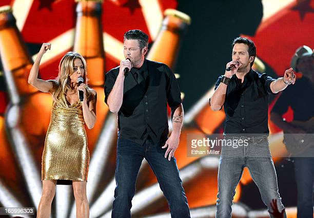 Singers Sheryl Crow Blake Shelton and Luke Bryan perform onstage during the 48th Annual Academy of Country Music Awards at the MGM Grand Garden Arena...