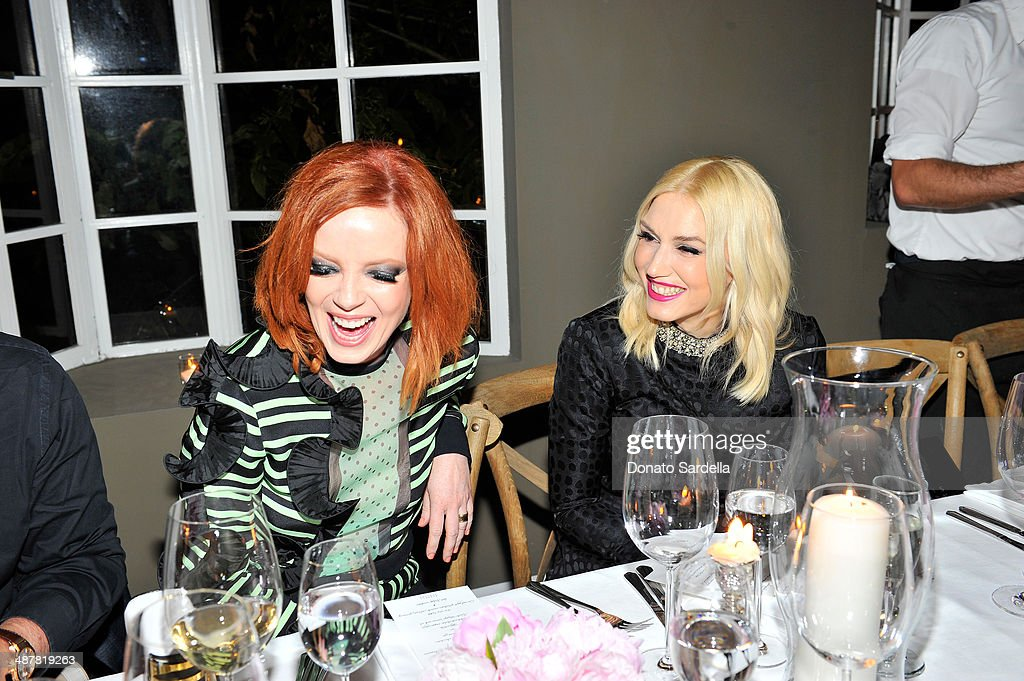 Singers Shirley Manson and Gwen Stefani attend A private dinner In honor of Fausto Puglisi of Emanuel Ungaro hosted by Barneys New York at Chateau Marmont on May 1, 2014 in Los Angeles, California.