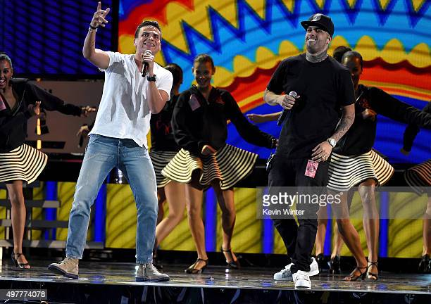 Singers Silvestre Dangond and Nicky Jam perform onstage during rehearsals for the 16th Latin GRAMMY Awards at the MGM Grand Garden Arena on November...