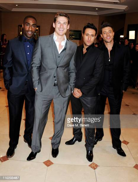Singers Simon Webbe Lee Ryan Antony Costa and Duncan James of Blue attend the GAME British Academy Video Game Awards 2011 at the London Hilton on...