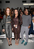 MKS singers Siobhan Donaghy Keisha Buchanan and Mutya Buena attend the PPQ show during London Fashion Week SS14 at BFC Courtyard Showspace on...