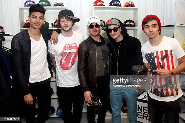 Singers Siva Kaneswaran Jay McGuiness Max George Tom Parker and Nathan Sykes of The Wanted attend the GRAMMY Gift Lounge during the 55th Annual...