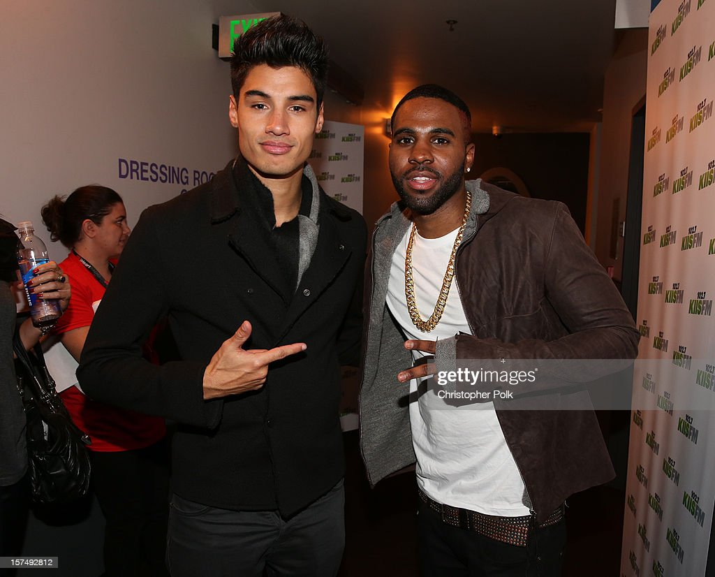 Singers Siva Kaneswaran of The Wanted and Jason Derulo attend KIIS FM's 2012 Jingle Ball at Nokia Theatre L.A. Live on December 3, 2012 in Los Angeles, California.