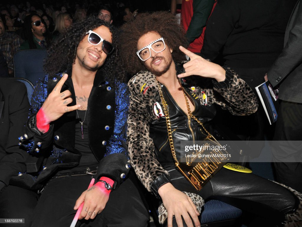 Singers SkyBlu (L) and <a gi-track='captionPersonalityLinkClicked' href=/galleries/search?phrase=Redfoo&family=editorial&specificpeople=5857552 ng-click='$event.stopPropagation()'>Redfoo</a> of LMFAO at the 2011 American Music Awards held at Nokia Theatre L.A. LIVE on November 20, 2011 in Los Angeles, California.