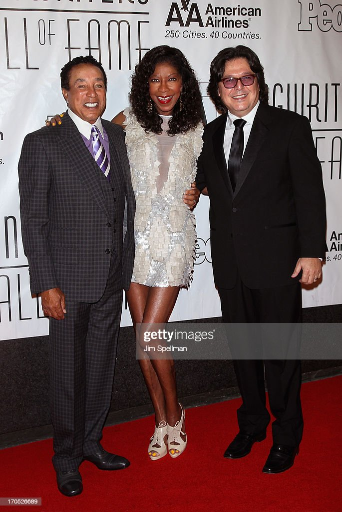 Singers Smokey Robinson, Natalie Cole and musician Rudy Perez attend the 2013 Songwriters Hall Of Fame Gala at Marriott Marquis Hotel on June 13, 2013 in New York City.