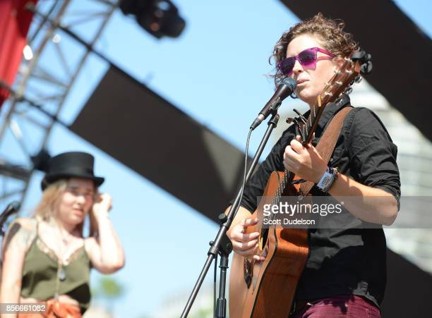 Singers Solange Kaye Marie Igoa and Andrea Walker of the band Bearcoon perform onstage during the 2nd annual Music Tastes Good Festival at Marina...