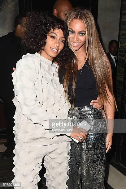Singers Solange Knowles and Beyonce attend the Balmain and Olivier Rousteing after the Met Gala Celebration on May 02 2016 in New York New York