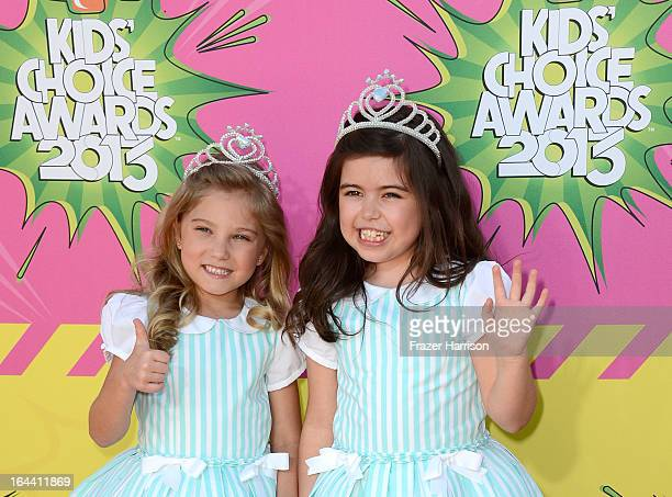 Singers Sophia Grace and Rosie arrive at Nickelodeon's 26th Annual Kids' Choice Awards at USC Galen Center on March 23 2013 in Los Angeles California