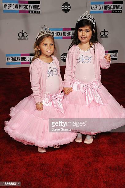 Singers Sophia Grace Brownlee and Rosie Brownlie arrive at the 2011 American Music Awards held at Nokia Theatre LA LIVE on November 20 2011 in Los...