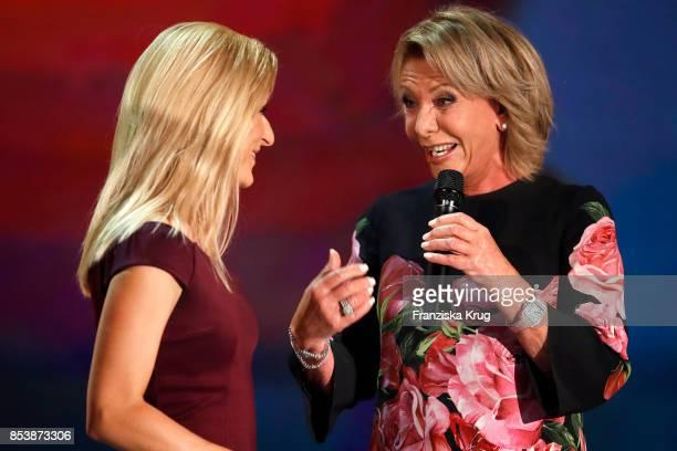 Singers Stefanie Hertel and Dorthe Kollo during the TV Show 'Stefanie Hertel Meine Stars' on September 25 2017 in Zwickau Germany