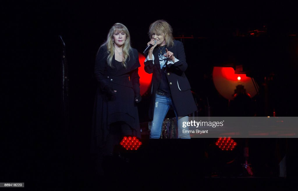 Singers Stevie Nicks and Chrissie Hynde performs on stage during her 24 Karat Gold Tour at Perth Arena on November 2, 2017 in Perth, Australia.