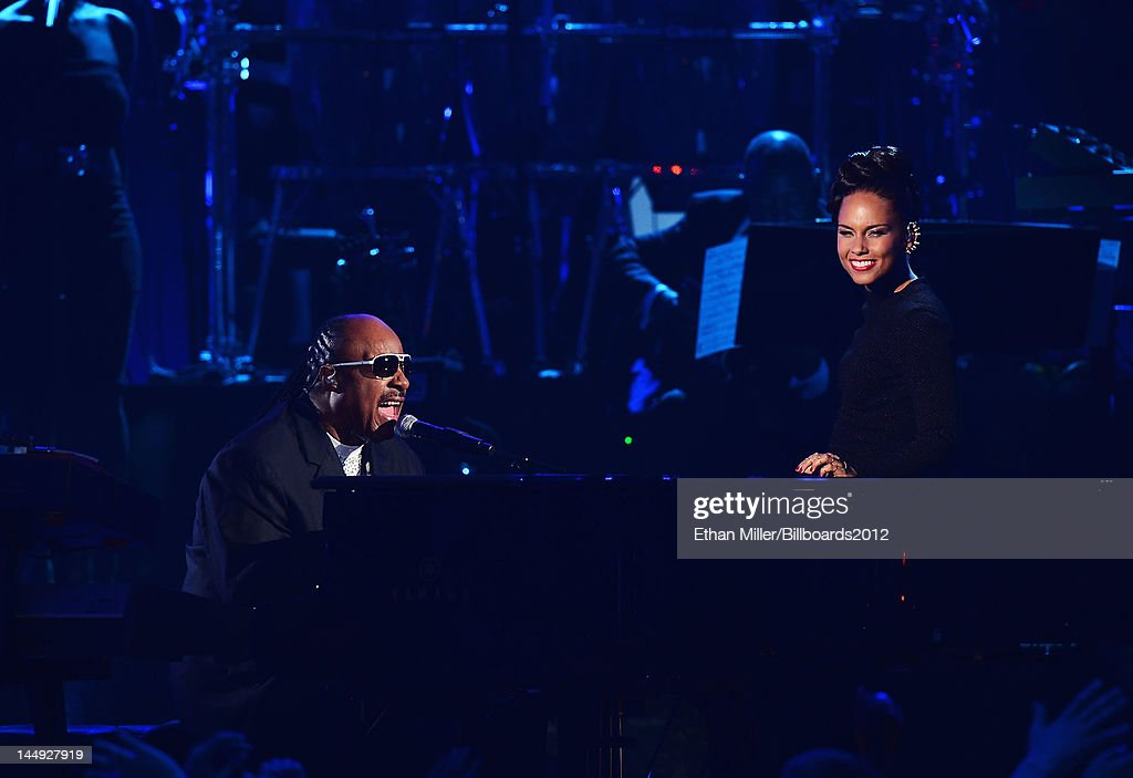 Singers <a gi-track='captionPersonalityLinkClicked' href=/galleries/search?phrase=Stevie+Wonder&family=editorial&specificpeople=171911 ng-click='$event.stopPropagation()'>Stevie Wonder</a> (L) and <a gi-track='captionPersonalityLinkClicked' href=/galleries/search?phrase=Alicia+Keys&family=editorial&specificpeople=169877 ng-click='$event.stopPropagation()'>Alicia Keys</a> perform onstage at the 2012 Billboard Music Awards held at the MGM Grand Garden Arena on May 20, 2012 in Las Vegas, Nevada.