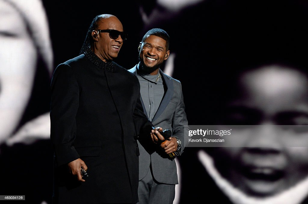 Singers Stevie Wonder and Usher perform 'If It's Magic' onstage during The 57th Annual GRAMMY Awards at the at the STAPLES Center on February 8 2015...