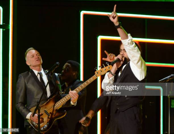 Singers Sting and Damian Marley perform onstage at the 55th Annual GRAMMY Awards at Staples Center on February 10 2013 in Los Angeles California