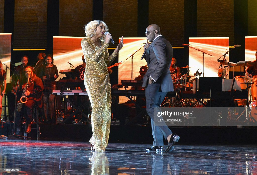 Singers Tamar Braxton and Joe perform onstage during the 2014 Soul Train Music Awards at the Orleans Arena on November 7 2014 in Las Vegas Nevada