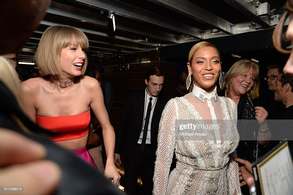Singers Taylor Swift (L) and Beyonce attend The 58th GRAMMY Awards at Staples Center on February 15, 2016 in Los Angeles, California.