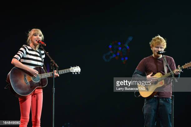 Singers Taylor Swift and Ed Sheeran perform onstage at the Prudential Center on March 28 2013 in Newark New Jersey Seventime GRAMMY winner Taylor...