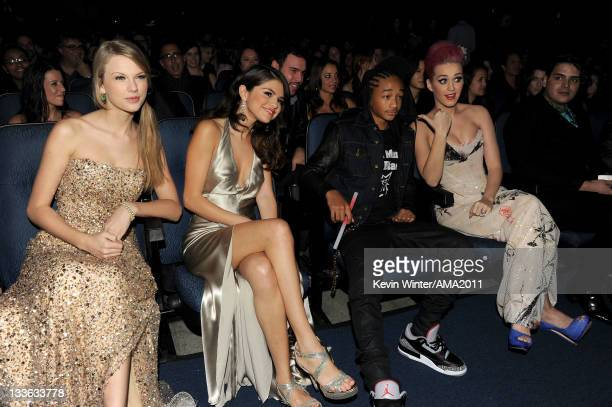 Singers Taylor Swift and Selena Gomez actor/musician Jaden Smith and singer Katy Perry at the 2011 American Music Awards held at Nokia Theatre LA...