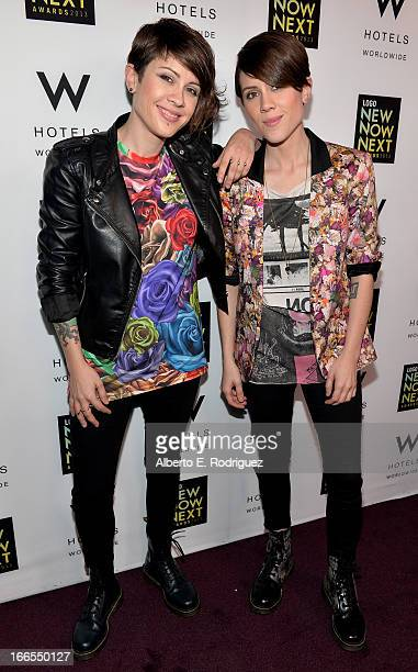 Singers Tegan Quin and Sara Quin of Tegan and Sara pose at the W Hotels Backstage Lounge at 2013 Logo NewNowNext Awards at The Fonda Theatre on April...