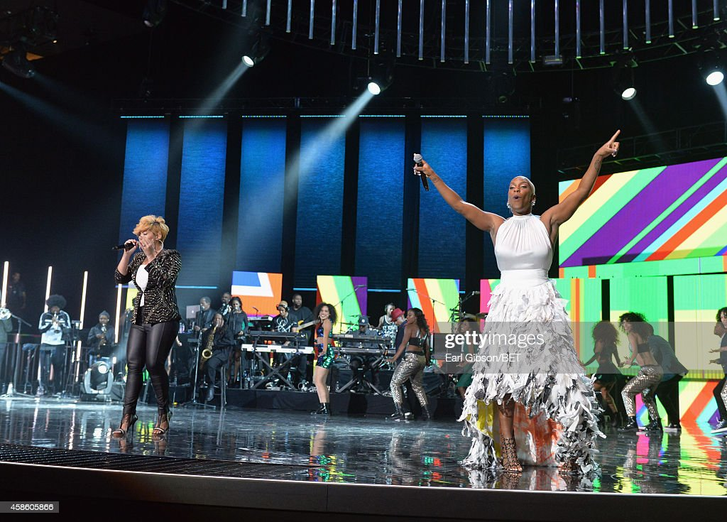 Singers Tessanne Chin and Liv Warfield perform onstage during the 2014 Soul Train Music Awards at the Orleans Arena on November 7 2014 in Las Vegas...