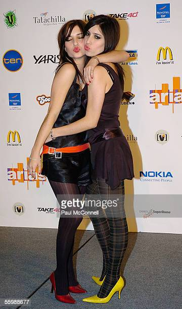 Singers The Veronicas pose in the media room at the 19th Annual ARIA Awards at the Sydney SuperDome on October 23 2005 in Sydney Australia The ARIA...
