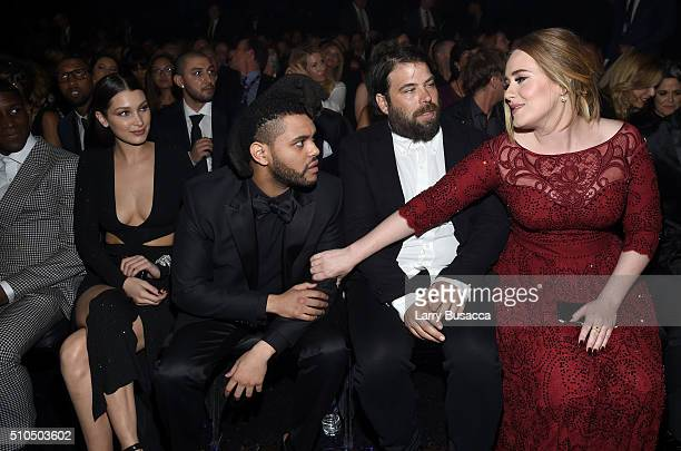Singers The Weeknd and Adele attend The 58th GRAMMY Awards at Staples Center on February 15 2016 in Los Angeles California