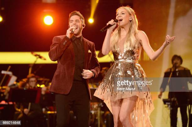 Singers Thomas Rhett and Kelsea Ballerini perform onstage during 'Stayin' Alive A GRAMMY Salute To The Music Of The Bee Gees' on February 14 2017 in...